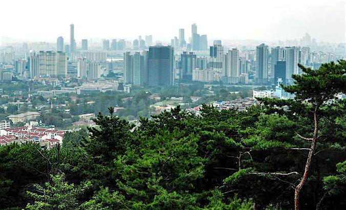 A photo of downtown Seoul, Korea